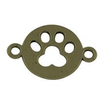 2 Paw Print Charms Connectors Antique Bronze Tone Dog Pendants Links - $1.61