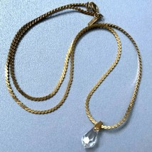 Vintage  Monet S Chain Necklace Faceted Glass Crystal Shaped Clear Pendant Signe - $14.80
