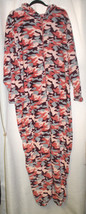 NEW WOMENS PLUS SIZE 3X CORAL CAMO PLUSH HOODED ONE PIECE PAJAMAS - $26.11