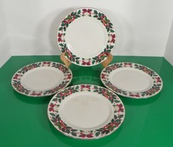 Royal Majestic HOLIDAY CHEER Salad Bread Plate (s) LOT OF 4 Bells Holly ... - $17.77