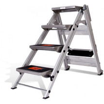 Little Giant Ladder Systems 4.58 ft Aluminum Safety Step Ladder with 300... - $242.99