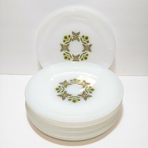 "Vintage Anchor Hocking Green Floral Milk Glass 7.25"" Lunch Plates Lot - ... - $56.07"