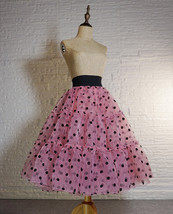 Pink Polka-Dot Puffy Tutu Skirt Outfit A-line Layered Plus Size Puffy Midi Skirt image 11