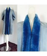 Vintage Canada 1990s sky blue Genuine Shearling Suede Fur Leather Coat J... - $697.50