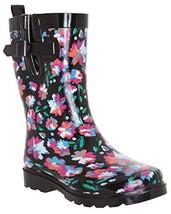 Capelli New York Ladies Bright Floral Printed Mid- Calf Rain Boot Black ... - $34.05