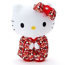 Sanrio Hello Kitty Standing Plush Doll Stuffed M Black Red H25cm Limited Japan - $61.70