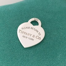 Please Return to Tiffany & Co Sterling Silver Heart Tag Pendant Charm - $109.00