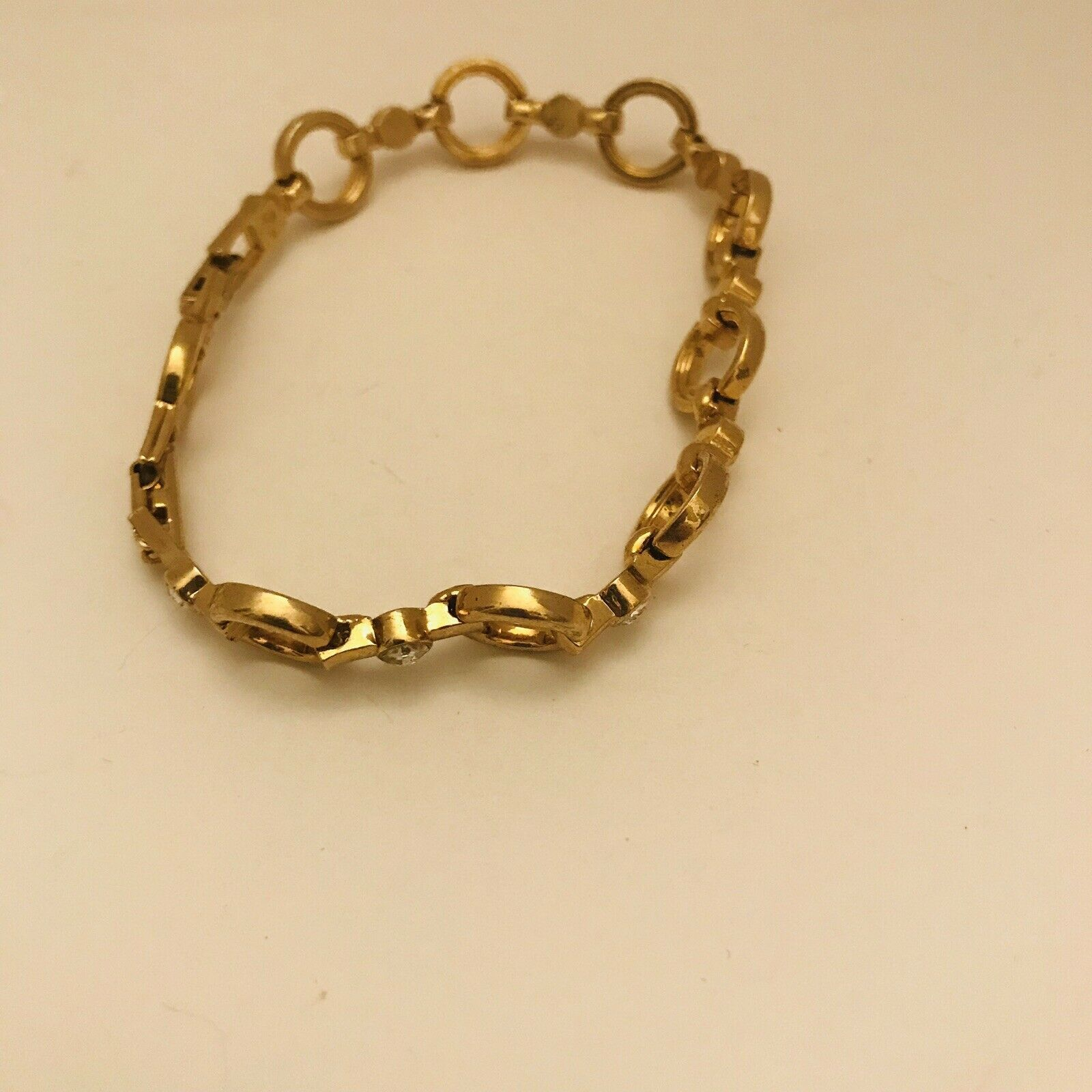 "Avon Sparkling Goldtone Circle Link 7"" -8"" Adjustable Tennis Bracelet J0727 image 3"