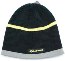 Easton Striped Knit Logo Winter Hat/Beanie/Toque  Black/Yellow/Gray - $18.04