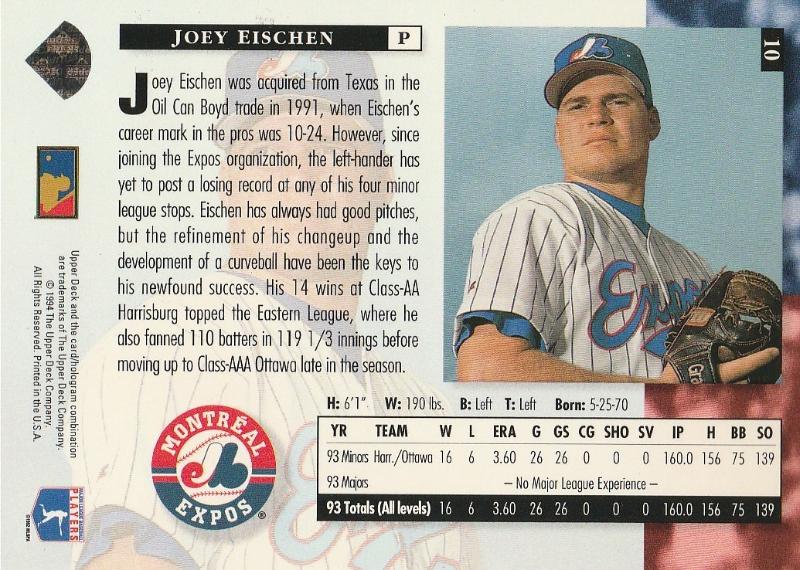 0d56118aa4 1994 Upper Deck #10 Joey Eischen and 50 similar items