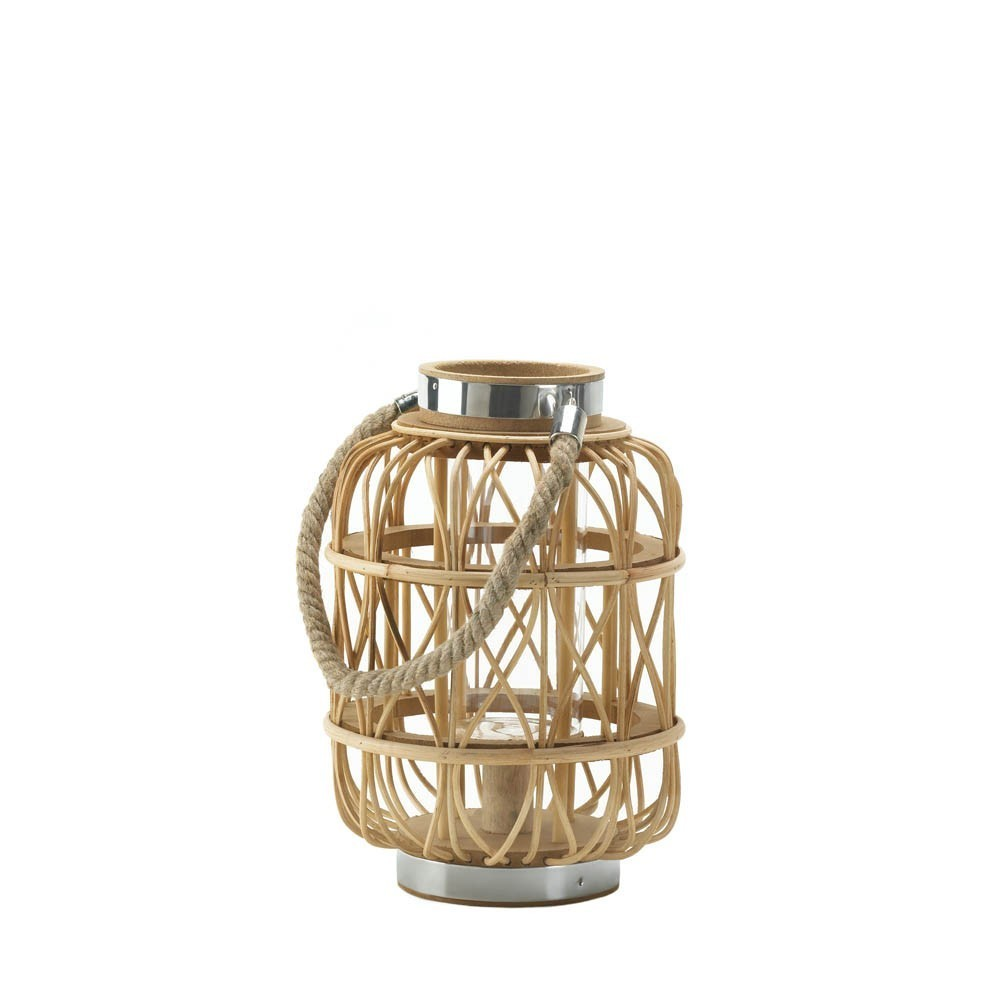Small Woven Rattan Candle Lantern