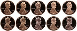1990-1999 S Complete Set Lincoln Memorial Cent Gem Proof Run 10 Coin Set... - $23.99