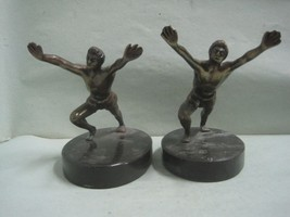 Antique pair of Book Ends bookends in bronze and marble stone  - $83.80