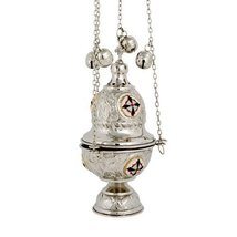 Nickel Plated Christian Church Thurible Incense Burner Censer (377 N) - $75.81