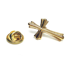 gold ornate fancy Religious Cross clip on rear Pin ,Badge / tie pin unisex gift