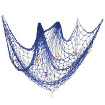 Decorative Fish Netting, Fishing Net Decor, 79 x 59inch Ocean Pirate Blue - $23.62
