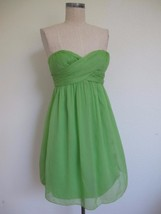 NWT J. Crew Taryn Short Dress 2P Lime Green Silk Crinkle Chiffon Twist Front - $20.56