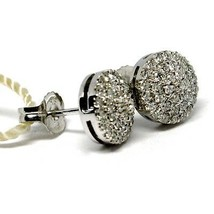 WHITE GOLD EARRINGS 750 18K, DIAMONDS CARAT 0.50, BUTTON, ROUND, pavÉ 8 MM image 2