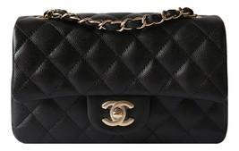 AUTHENTIC CHANEL BLACK CAVIAR LARGE MINI 20CM MATTE LIGHT GOLD HW FLAP BAG