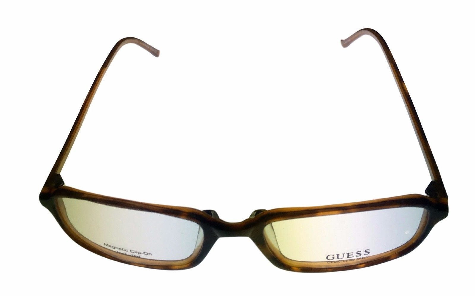 Guess Ophthalmic Mens Eyeglass Plastic Rectangle 1331 Demi Amber image 2
