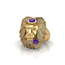 Emperor Ruler Of The jungle Animal King Lion Face Band Purple Amethyst Ring Band - $2,189.99
