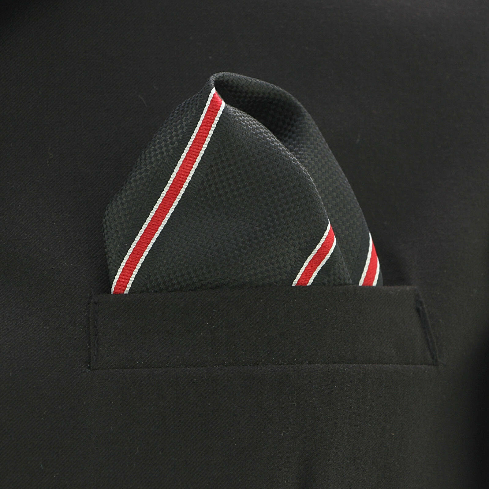 Men's Striped Pocket Square Dress Handkerchief Suit Fashion Black & Red Hanky