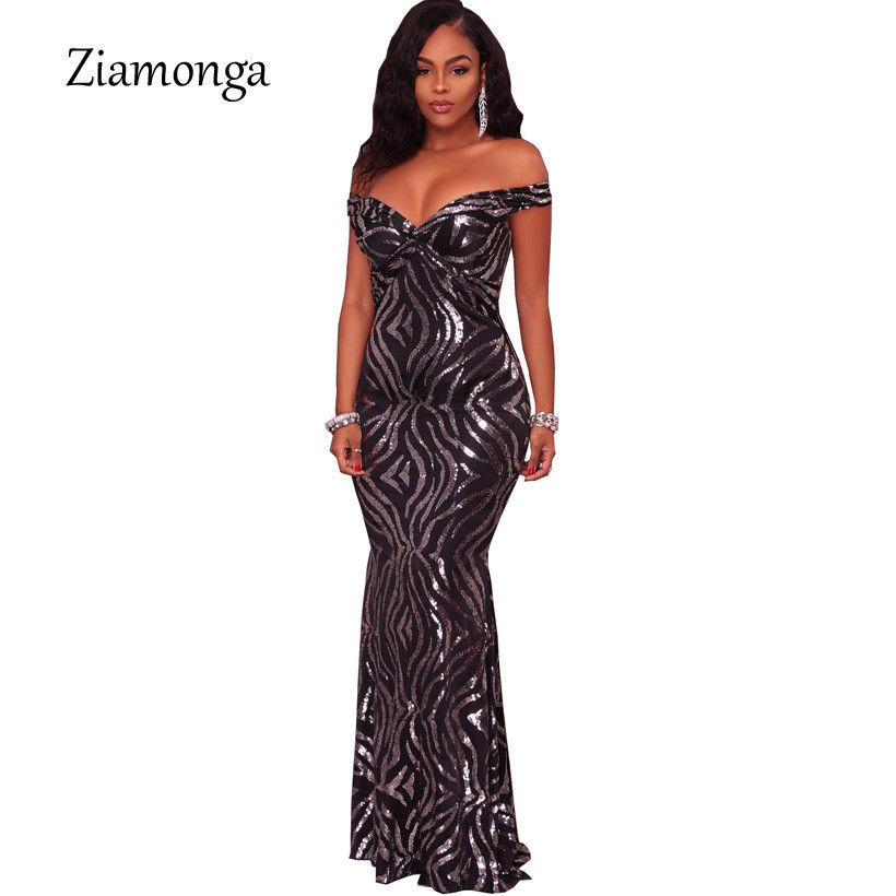Primary image for Sequin Long Party Dress Club V-neck Floor Length Black Short Sleeve Long Maxi