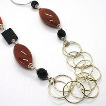 Collar Plata 925 ,Jaspe Ovalados, Ónix, Largo 90cm, Círculos Grandes image 4