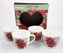 Set 4 Melamine Coffee Cups Mugs Poinsettia Christmas Holiday Design with... - $29.62