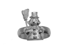 Frosty the snowman Solid Sterling Silver 925 Ring Jewelry Christmas Wint... - $26.47