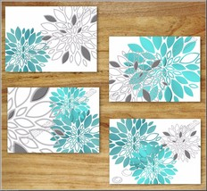 Teal Turquoise Gray Wall Art Picture Prints Decor Floral Dahlia Kitchen ... - $13.99