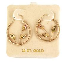 Vintage 14k Solid 2 Tone Yellow Rose Gold Circle Leaves Hoop Earrings - $206.99