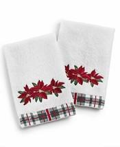 2 Pc Martha Stewart Christmas Poinsettia Guest Hand Towels NWT FREE SHIP... - $24.74