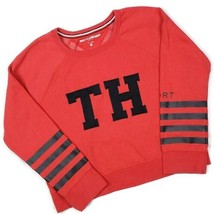 Tommy Hilfiger Sport Womens Sweatshirt L Red Black Varsity Logo Cropped  - $23.51