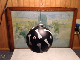 NEW Black Glass Ornament w Silver Dog Bones and Red Crystals image 3