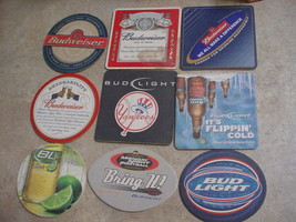 9 DIFFERENT BUDWEISER & BUD LIGHT BEER COASTERS LOT USED FREE USA SHIPPING - $9.49