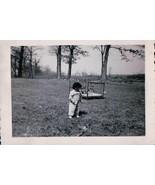 Vintage Baby Outside Of Playpen Wondering In Field Ada MI 1953 Snapshot  - $7.99