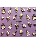 Nail Art 3D Decal Stickers Pretty Flowers White with Pink & Gold - $8.89