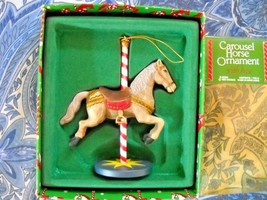 Vintage 1983 Enesco Carousel Horse W/STAND Ornament In Original Box - $7.50