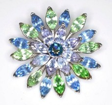 VTG Mid Century CROWN TRIFARI Silver Blue Green Rhinestone Flower Pin Br... - $123.75