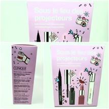clinique step into the spotlight gift set happy edp mascara lipstick eye pen - $20.79