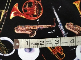 1/2 yard music/instruments/sax/horns/flute on black quilt fabric -free shipping image 4