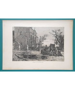 RUSSIA Russian Pilgrims Arrival at Church - 1880s Wood Engraving Print - $11.25