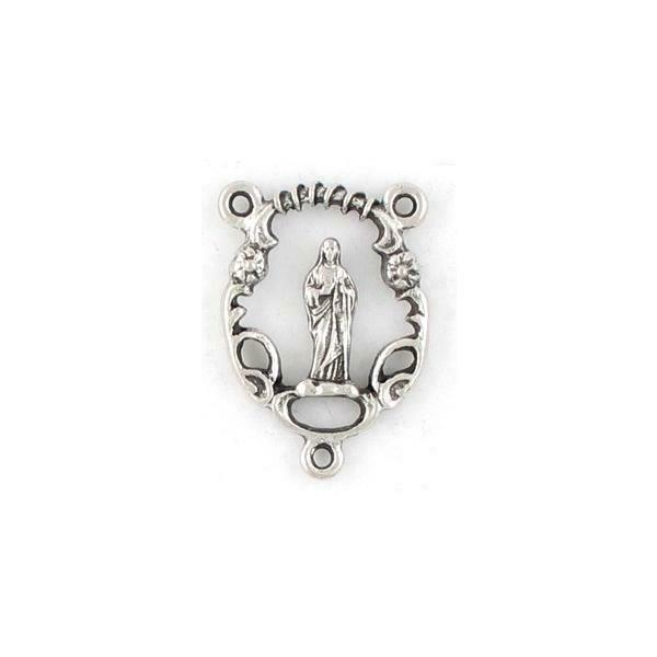 BLESSED MOTHER FINE PEWTER ROSARY CONNECTOR - 16x23x3mm