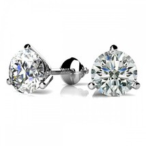 4CT Round Solid 18K White Gold Brilliant Cut Martini ScrewBack Stud Earrings - $262.75