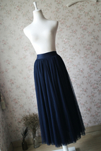 NAVY BLUE Elastic Waist Tulle Maxi Skirt Navy Wedding Bridesmaid Skirts Floor image 6