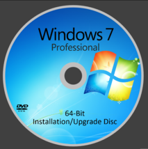Windows 7 Professional 64-BIT DVD With Key & HDD! - Free Fast Shipping - $19.99