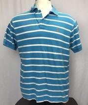 Men's Blue & white Striped W/ Orange Logo Polo Ralph Lauren polo shirt XL - $14.78