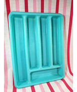 Awesome Vintage Aqua 5 Section Soft Plastic Flatware Silverware Tray Org... - $14.00