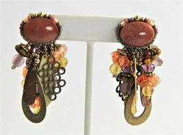 ESTATE VINTAGE Jewelry SIGNED CHIPITA BOHO CHIC DANGLE CLIP EARRINGS JOA... - $65.00